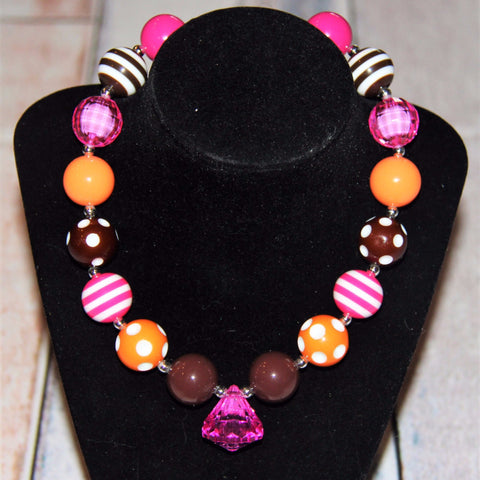 Hot Pink Brown & Orange Bubblegum Necklace-Jewelry-CKCC-Cute Kids Clothing