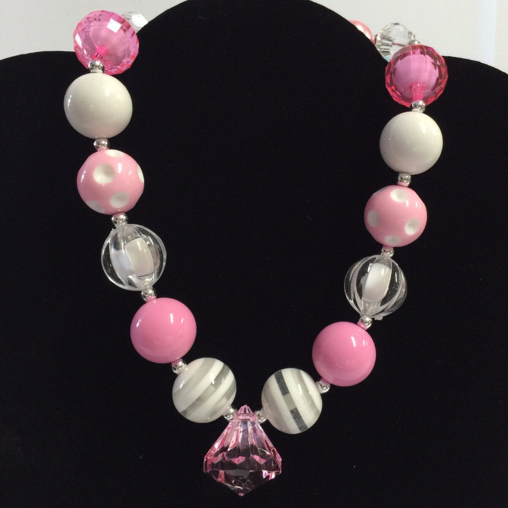Pink Cotton Candy Chunky Necklace-Jewelry-CKCC-Cute Kids Clothing