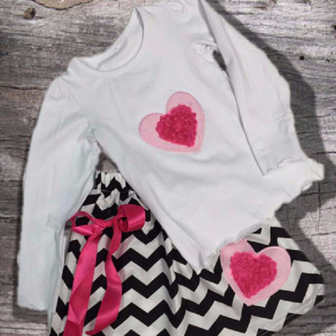 Hot Pink Chevron Heart Skirt Set-Outfits & Sets-CKCC-Cute Kids Clothing