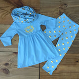 Blue Gold Polka Dot Outfit With Infinity Scarf-Outfits & Sets-CKCC-Cute Kids Clothing