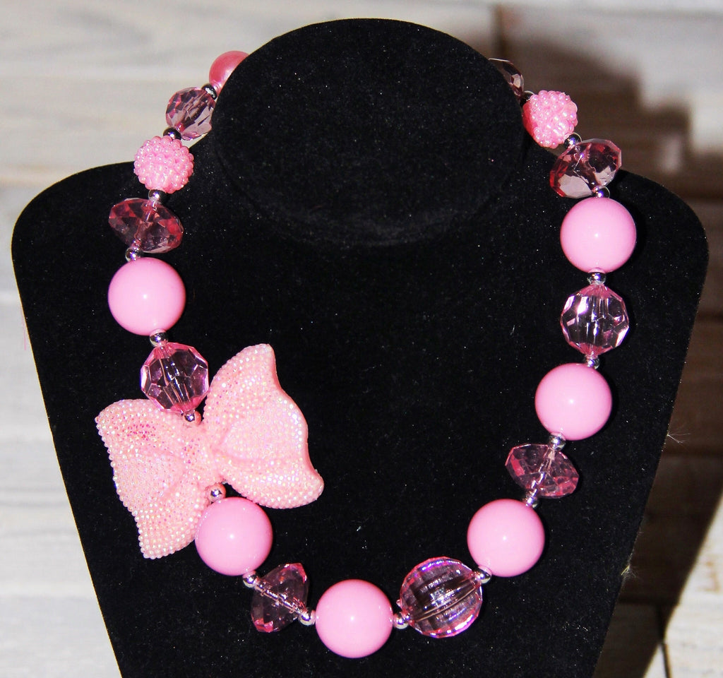 Sparkly Pink Bow Chunky Necklace-Jewelry-CKCC-Cute Kids Clothing
