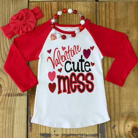 """Valentine Cute Mess"" T-Shirt-Girl T-Shirt-CKCC-Cute Kids Clothing"