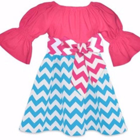 The Ellie Chevron Boutique Dress-Dresses-CKCC-Cute Kids Clothing