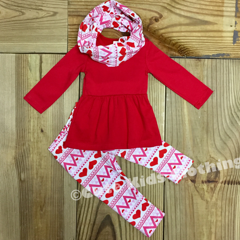 Valentine Aztec Heart Scarf Outfit-Outfits & Sets-CKCC-Cute Kids Clothing