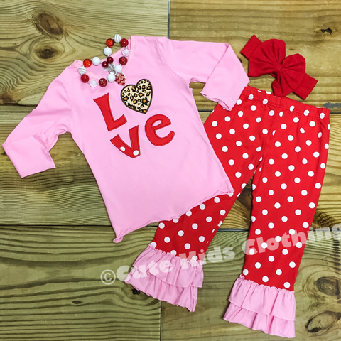 Pink Valentine Love Outfit-Outfits & Sets-CKCC-Cute Kids Clothing