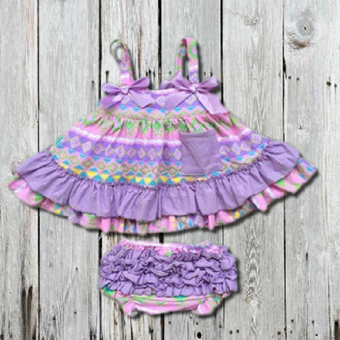 Lavender Aztec Swing Top Set-Swing Top Set-CKCC-Cute Kids Clothing