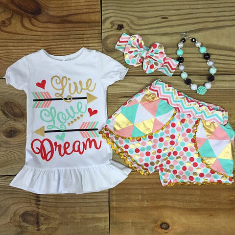 Live Love Dream Short Outfit-Outfits & Sets-CKCC-Cute Kids Clothing