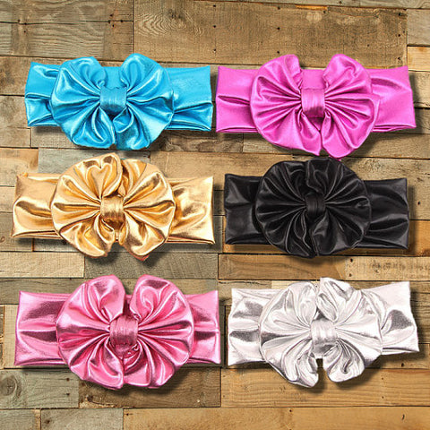 "Many Colors Metallic Headband With 5"" Big Bow Boutique Hair Accessory-Headband-CKCC-Cute Kids Clothing"