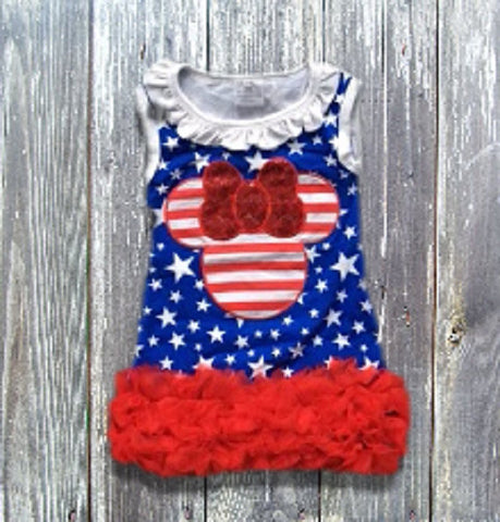 July 4th Minnie Mouse Inspired Ruffled Dress-Dresses-CKCC-Cute Kids Clothing