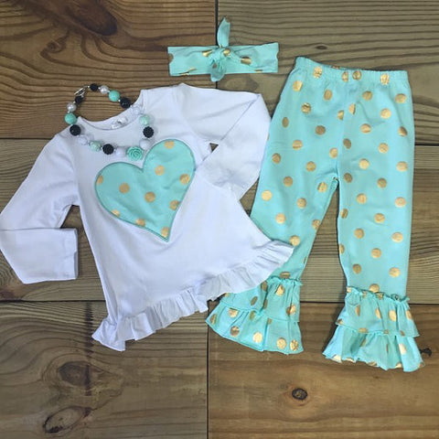 FREE HEADBAND!! Girl Mint Green Gold Polka Dot Heart Outfit Ruffled Pants-Outfits & Sets-CKCC-Cute Kids Clothing