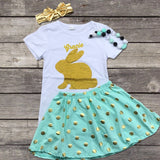 Mint & Gold Dot Bunny Skirt Set-Outfits & Sets-CKCC-Cute Kids Clothing