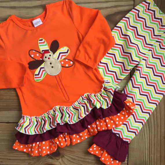 Orange Chevron Turkey Outfit-Outfits & Sets-CKCC-Cute Kids Clothing