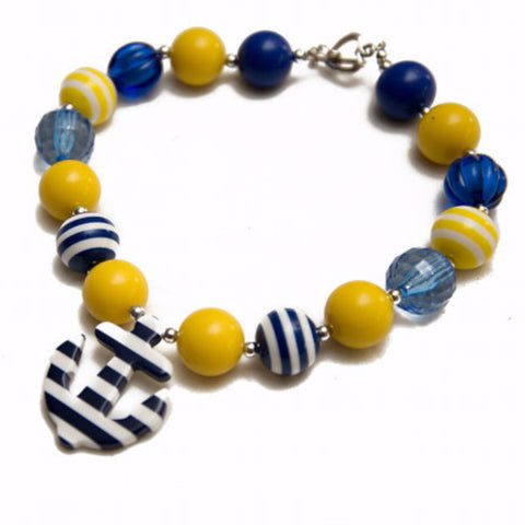 Navy & Yellow Chunky Anchor Necklace-Jewelry-CKCC-Cute Kids Clothing