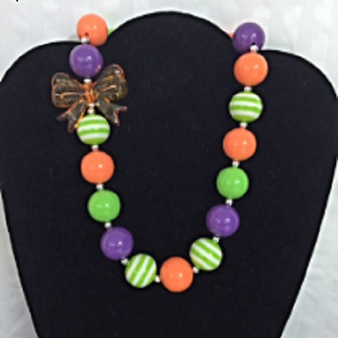 Big Orange Bow Bubblegum Necklace, Baby Chunky Necklace-Necklaces & Pendants-CKCC-Cute Kids Clothing
