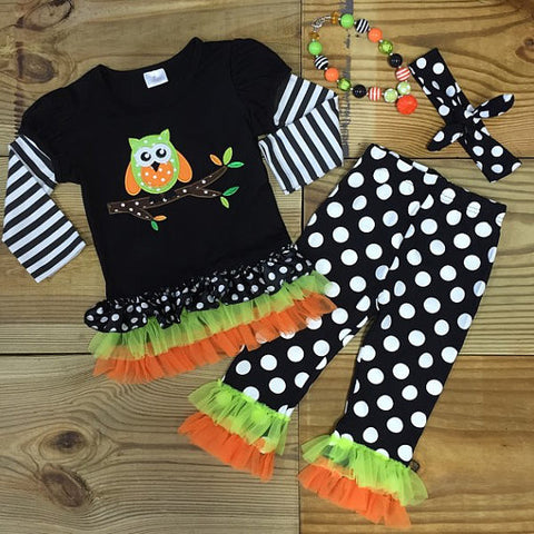 Halloween Owl Ruffled Outfit-Outfits & Sets-CKCC-Cute Kids Clothing