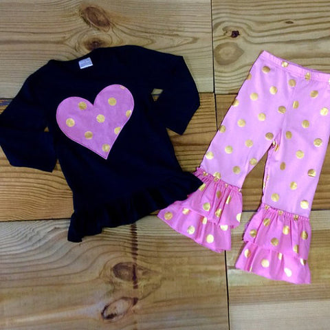 FREE HEADBAND!! Pink & Gold Dot Heart Outfit-Outfits & Sets-CKCC-Cute Kids Clothing