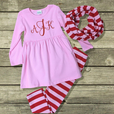 Red & Pink Striped Scarf Outfit-Outfits & Sets-CKCC-Cute Kids Clothing