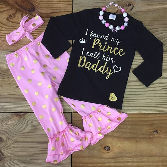 """I Found My Prince I Call Him Daddy"" Gold Dot Outfit-Outfits & Sets-CKCC-Cute Kids Clothing"