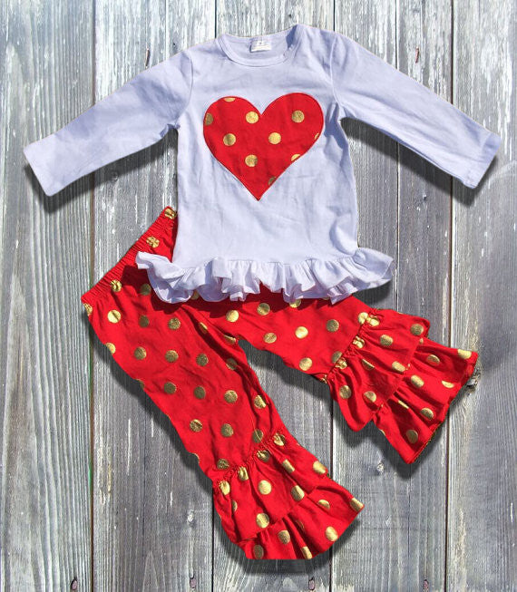 White Top with Red Heart and Gold Polka Dot Ruffled Pants.-Outfits & Sets-CKCC-Cute Kids Clothing