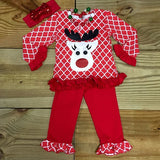 Christmas Lattice Reindeer Outfit-Outfits & Sets-CKCC-Cute Kids Clothing