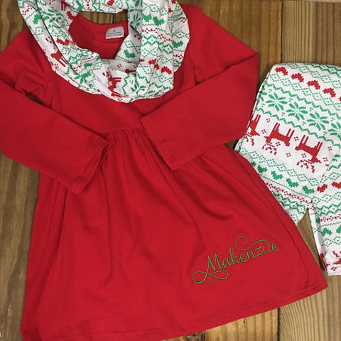 Christmas Reindeer Scarf Set-Outfits & Sets-CKCC-Cute Kids Clothing