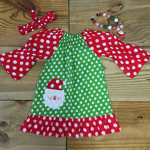 Green & Red Polka Dot Santa Dress-Dresses-CKCC-Cute Kids Clothing
