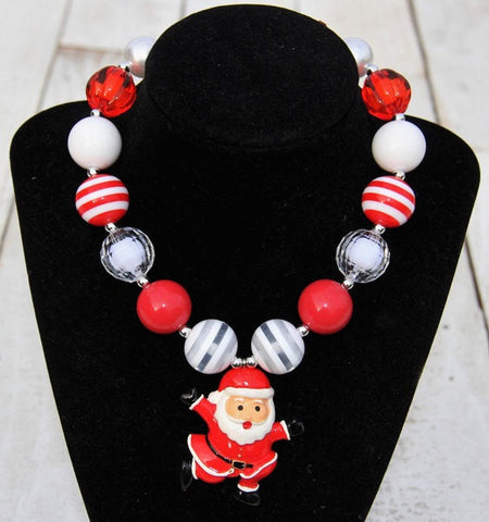 Christmas Santa Chunky Necklace For Boutique Jewelry-Necklaces & Pendants-CKCC-Cute Kids Clothing