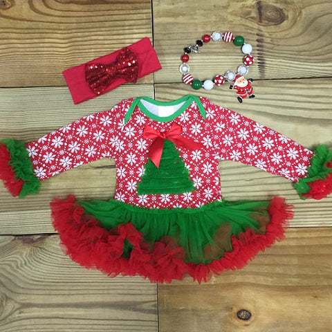 Snowflake Christmas Tree Tutu-Tutu Onesie-CKCC-Cute Kids Clothing