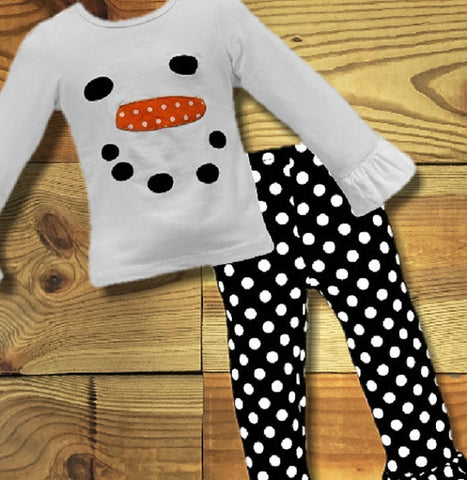 Christmas, Snowman Outfit, Polka Dot Polka Dot Ruffle Pants-Outfits & Sets-CKCC-Cute Kids Clothing
