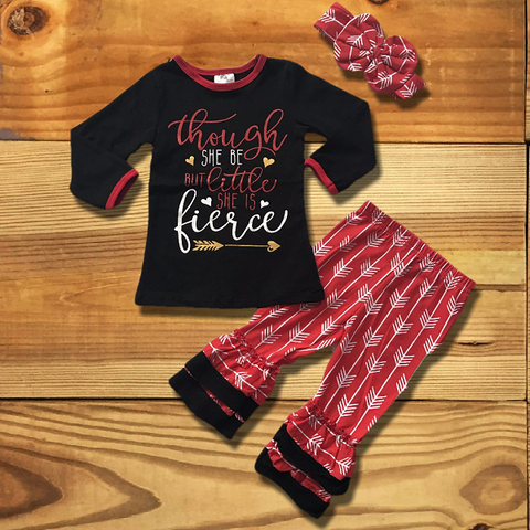 Though She Be But Little She is Fierce Boutique Outfit-Cute Kids Clothing