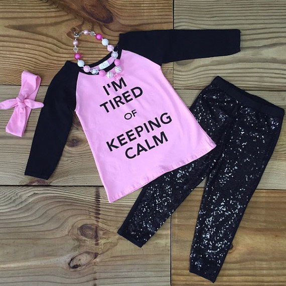 """I'm Tired Of Keeping Calm"" Sequin Outfit-Outfits & Sets-CKCC-Cute Kids Clothing"