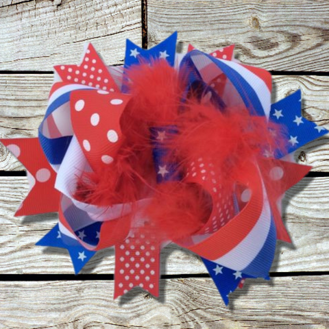 July 4th Girl's Hair Bow-Hair Accessories-CKCC-Cute Kids Clothing
