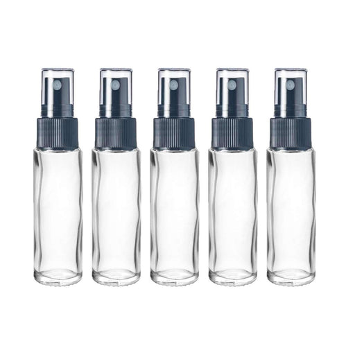 10 ml Clear Glass Vial w/ Black Fine Mist Tops (Pack of 5) - Your Oil Tools