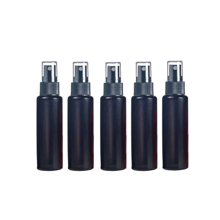 10 ml Black Frosted Glass Vial w/ Black Fine Mist Tops (Pack of 5) - Your Oil Tools