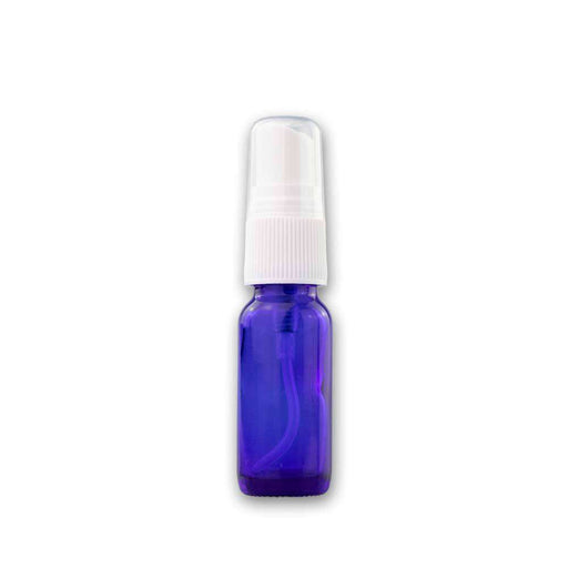 15 ml Blue Glass Bottle w/ White Fine Mist Top - Your Oil Tools