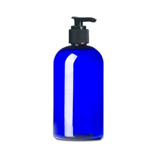 16 oz Blue Plastic PET Boston Round Bottle w/ Black Pump Top - Your Oil Tools