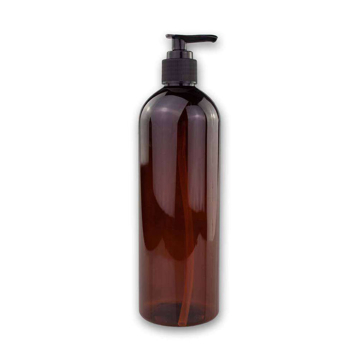 16 oz Amber Plastic Bottle w/ Black Pump Top - Your Oil Tools