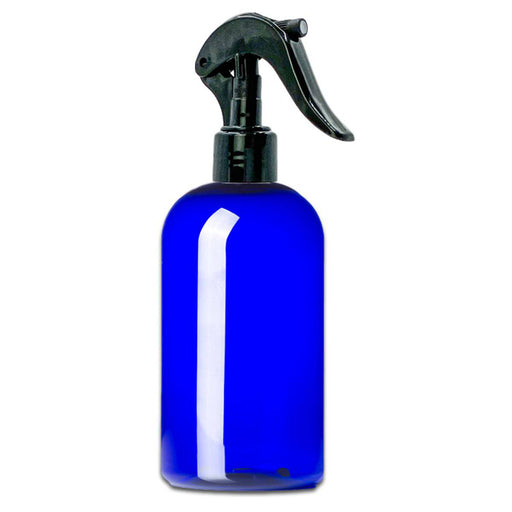 16 oz Blue Plastic PET Boston Round Bottle w/ Trigger Sprayer - Your Oil Tools