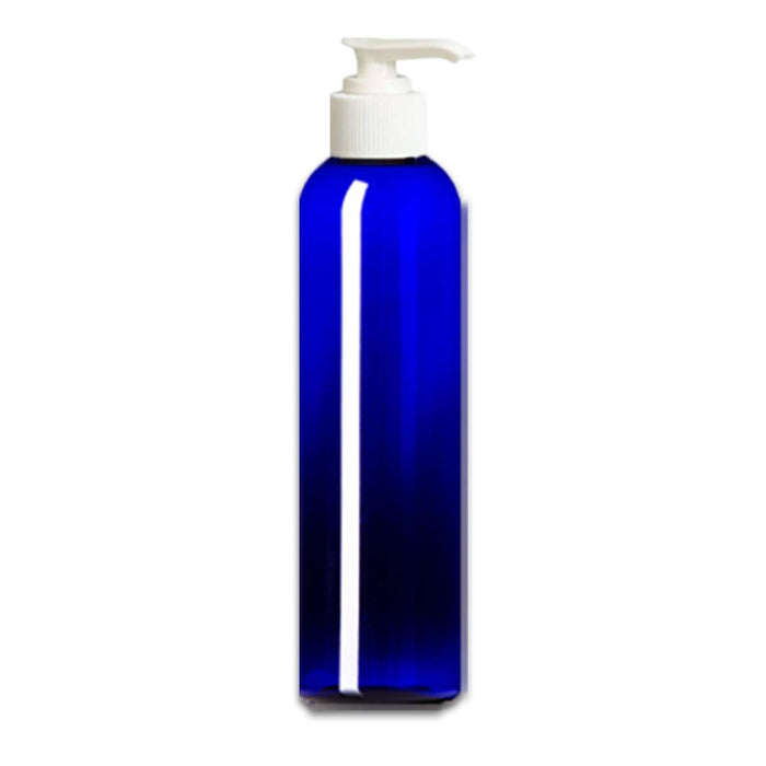 16 oz Blue Plastic Bottle w/ White Pump Top - Your Oil Tools