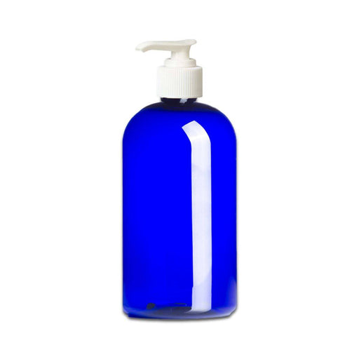 16 oz Blue Plastic PET Boston Round Bottle w/ White Pump Top - Your Oil Tools