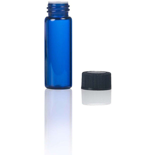 1 dram (3.7 ml) Blue Glass Vial w/ Orifice Reducer (Pack of 12) - Your Oil Tools