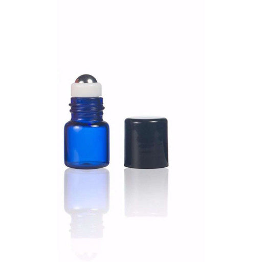 1 ml Blue Glass Vial w/ Stainless Steel Roller (Pack of 5) - Your Oil Tools