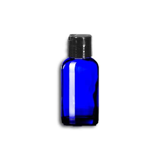 1 oz Blue Glass Bottle w/ Black Disc Top - Your Oil Tools