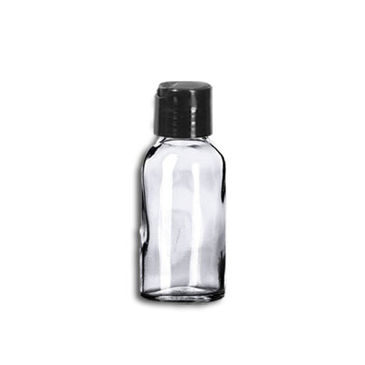 1 oz Clear Glass Bottle w/ Black Disc Top - Your Oil Tools