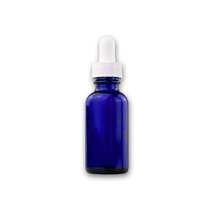 1 oz Blue Glass Bottle w/ White Dropper - Your Oil Tools