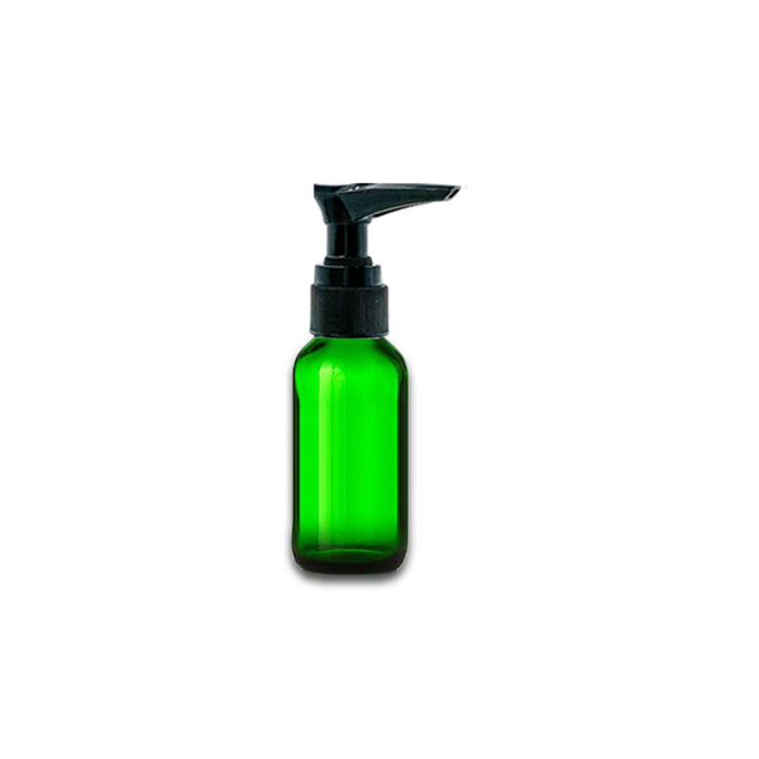1 oz Green Glass Bottle w/ Black Lotion Pump - Your Oil Tools