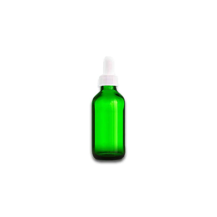 1 oz Green Glass Bottle w/ White Dropper - Your Oil Tools