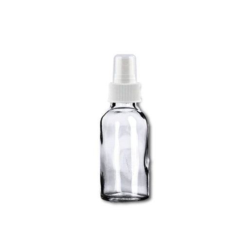 1 oz Clear Glass Bottle w/ White Fine Mist Top - Your Oil Tools