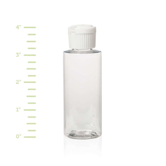 2 oz Clear Plastic Bottle w/ White Flip Top - Your Oil Tools