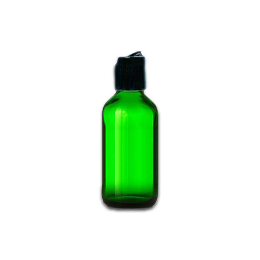 2 oz Green Glass Bottle w/ Black Disc Top - Your Oil Tools